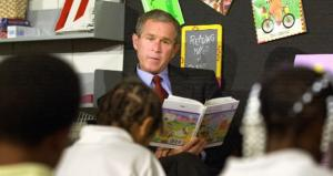 George W. Bush jokes that people were surprised to find he could read and write