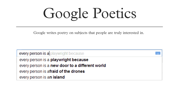 Poetry in Google Autocomplete