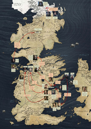 Westeros and the events and characters of 'A Clash of Kings' - Designed by Cath Murphy for LitReactor.com, using the available map from HBO.com