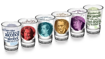Writer shot glasses