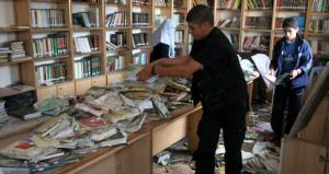 Al-Saeh library destroyed