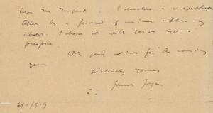 Rare James Joyce Letters Sell for Big Bucks