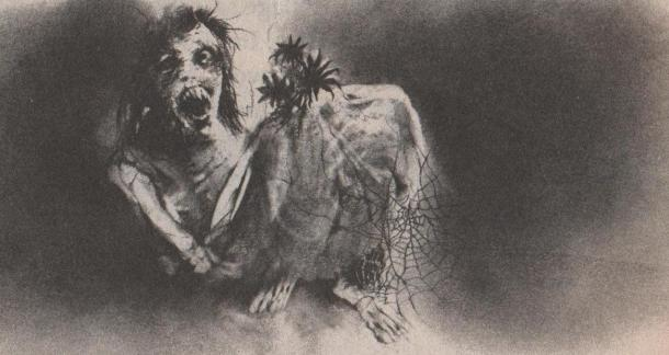 "A typical illustration from ""Scary Stories to Tell in the Dark"""
