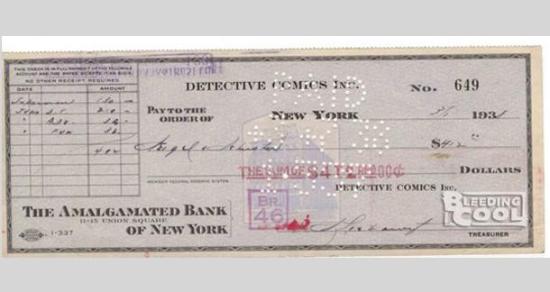 The check that Detective Comics paid for Superman