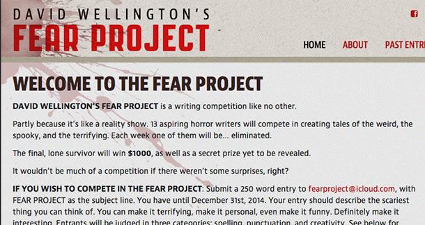 Writing Contest: David Wellington's Fear Project ($1000 prize)