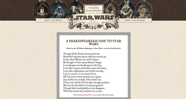 DIY Shakespearean Star Wars Sonnet Widget Released by Quirk Books