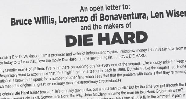 Man Takes Out Full-Page Ad To Pitch New Die Hard Story
